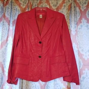 Red leather coat